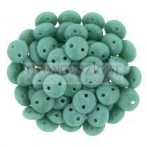 Cseh préselt kétlyukú lencse gyöngy - Persian Turquoise -6mm