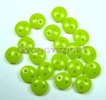Cseh préselt kétlyukú lencse gyöngy - Light Green -6mm