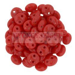 Cseh préselt kétlyukú lencse gyöngy - Dark Red -6mm