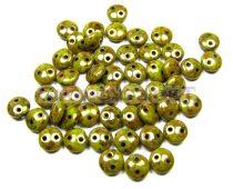 Cseh préselt kétlyukú lencse gyöngy - Green Bronze Picasso -6mm