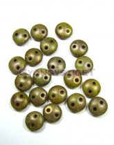 Cseh préselt kétlyukú lencse gyöngy - Green Copper Picasso -6mm