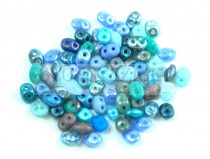 Czech mixed Duo beads - Blue - 10g