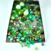 Czech mixed beads - green - 10g