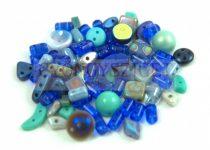 Cseh többlyukú gyöngy mix - Blue - 10g
