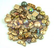 Cseh többlyukú gyöngy mix - Gold - 10g