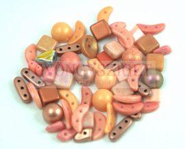 Cseh többlyukú gyöngy mix - Orange - 10g