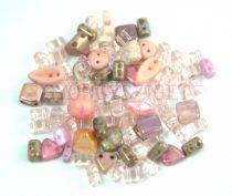 Czech multihole bead mix - Pink - 10g