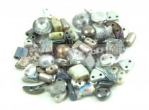 Cseh többlyukú gyöngy mix - Silver - 10g