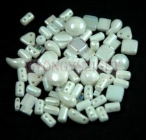 Czech multihole bead mix - White- 10g