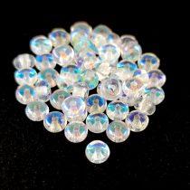 Cseh préselt rondelle gyöngy - Crystal AB - 2.5 x 4 mm