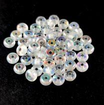 Cseh préselt rondelle gyöngy - Silver Lined Crystal AB - 2.5 x 4 mm