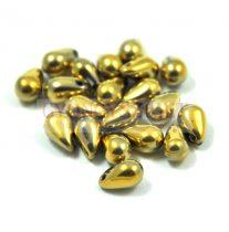 Cseh préselt csepp gyöngy - crystal amber - 5x8 mm
