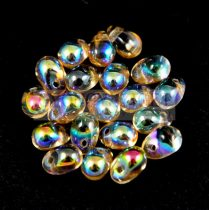 Drop - Czech Pressed Glass Bead - crystal honey rainbow - 6x4mm