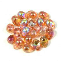 Drop - Czech Pressed Glass Bead - crystal orange rainbow - 6x4mm