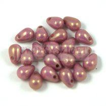 Cseh préselt csepp gyöngy - alabástrom lila arany lüszter - 4x6 mm