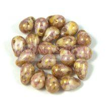 Cseh préselt csepp gyöngy - rózsa bronz márvány - 4x6 mm
