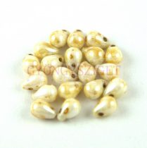 Drop - Czech Pressed Glass Bead - alabaster picass - 5x7mm
