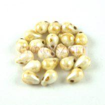 Cseh préselt csepp gyöngy - alabaster picasso - 4x6 mm