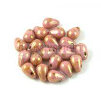 Cseh préselt csepp gyöngy - Alabaster Pink Bronze Luster - 4x6 mm