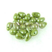 Cseh préselt csepp gyöngy - Green Luster - 4x6 mm