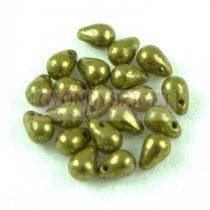 Cseh préselt csepp gyöngy - Opaque Green Violet Teracotta - 4x6 mm