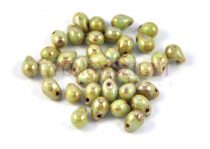 Drop - Czech Pressed Glass Bead - pale apple green traventin - 5x7mm
