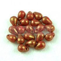 Cseh préselt csepp gyöngy - Opaque Red Violet Teracotta - 4x6 mm