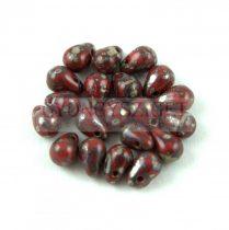 Cseh préselt csepp gyöngy - Opaque Dark Red Luster - 4x6 mm