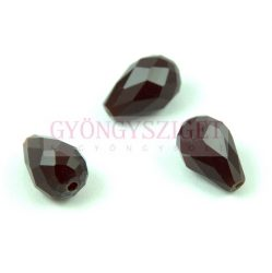 Firepolished Faceted Glass Bead - Teardrop - 15x10mm - Dark Red