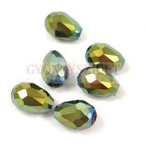 Csiszolt csepp gyöngy 12x8mm - Metallic Green Iris