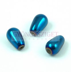 Oriental Pressed Glass Bead - Teardrop - 13x8mm - Metallic Blue Iris