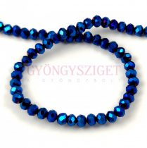 Csiszolt fánk gyöngy - Metallic Blue Iris - 2x3mm - szálon