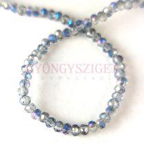 Csiszolt fánk gyöngy - Crystal Blue Iris - 2x3mm - szálon