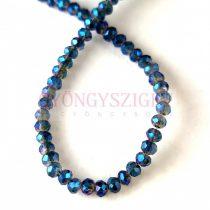 Csiszolt fánk gyöngy - Black Diamond Metallic Blue - 2x3mm - szálon