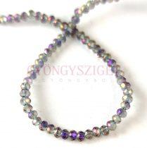 Csiszolt fánk gyöngy - Black Diamond Purple Iris - 2x3mm - szálon