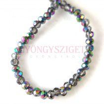 Csiszolt fánk gyöngy - Black Diamond Metallic Green Blue Iris - 2x3mm - szálon