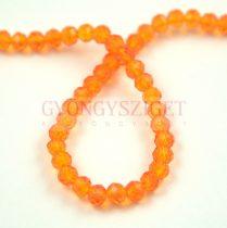 Csiszolt fánk gyöngy - Transparent Orange - 3x4mm - szálon