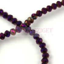 Csiszolt fánk gyöngy - Metallic Violet Iris - 3x4mm - szálon