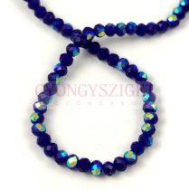 Csiszolt fánk gyöngy - Dark Sapphire Metallic Green Iris - 3x4mm - szálon