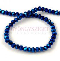 Csiszolt fánk gyöngy - Metallic Blue Iris - 3x4mm - szálon