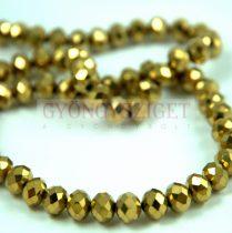 Csiszolt fánk gyöngy - Golden Bronz - 3x4mm - szálon