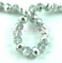 Csiszolt fánk gyöngy - Crystal Silver - 3x4mm - szálon