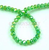 Csiszolt fánk gyöngy - Light Emerald AB - 3x4mm - szálon
