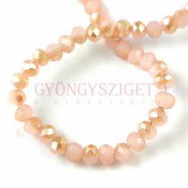 Csiszolt fánk gyöngy - Pink Opal Latte Luster - 3x4mm - szálon