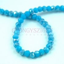 Csiszolt fánk gyöngy - Turquoise Blue AB - 3x4mm - szálon