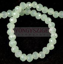 Csiszolt fánk gyöngy - Opal Mint AB - 3x4mm - szálon
