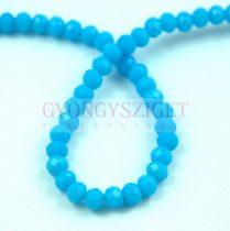 Csiszolt fánk gyöngy - Turquoise Blue - 3x4mm - szálon