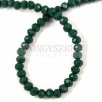 Csiszolt fánk gyöngy - Dark Green - 3x4mm - szálon