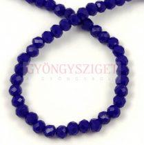 Csiszolt fánk gyöngy - Dark  Sapphire - 3x4mm - szálon