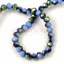 Csiszolt fánk gyöngy - Baby Blue Metallic Green Iris - 3x4mm - szálon
